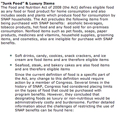 List of eligible food stamp items that you can purchase using your New York EBT card